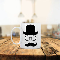 Funny Mr. Hat Glasses Mustache Ceramic Coffee Mug - Dishwasher Safe - Cute Coffee Mug- Funny Coffee Mug - Custom - Personalized Morning Mug