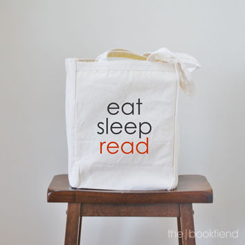 eat sleep read canvas book tote bag