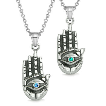 All Seeing and Feeling Buddha Eye Hand Love Couples or Best Friends Amulets Blue Green Pendant Necklaces