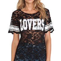 Lovers + Friends Lovers Lace Athletic Tee in Black