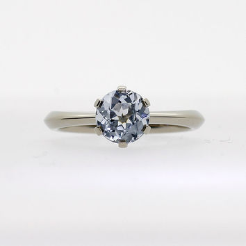 Ready to ship size 4.75, Light blue sapphire solitaire ring, white gold ring, sapphire engagement ring, light blue, blue wedding, unique