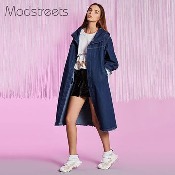 Hooded Denim Jackets Women Long Sleeve Tassel Vintage Jean Coat Blue Denim Loose Autumn Long Jacket