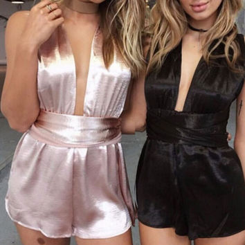 Fashion Simple Solid Color Deep V Sleeveless Chiffon Romper Jumpsuit Shorts