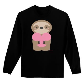 Cute Valentine Sloth Holding Heart Adult Long Sleeve Dark T-Shirt by TooLoud
