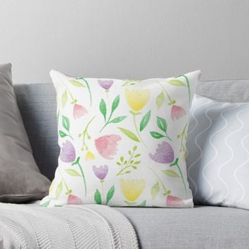 'Watercolor Flowers' Throw Pillow by stefiijuliette