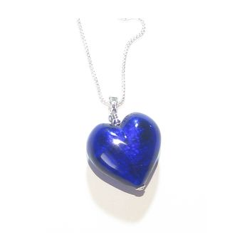 Murano Glass Cobalt Blue Puffy Heart Pendant, Italian Murano Glass Jewelry
