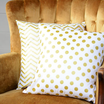 """White and Gold Pillows. Two 18"""" x 18"""". Gold Down Sofa Pillows. Gold Luxury Pillows. White Gold Polka Dot Toss Pillows. Gold Dot Pillows."""