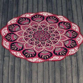 PEAPGC3 2017  Summer Chiffon Round Beach Towel Large Indian Mandala Tapestry Tablecloth Cover Up Cheap Beach Towels Outdoor New