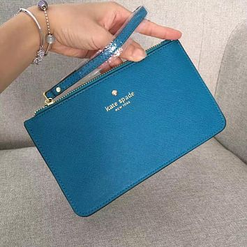 Kate Spade Fashion Simple Zipper Wrist Bag Handbag Wallet Peacock blue (22 Color)
