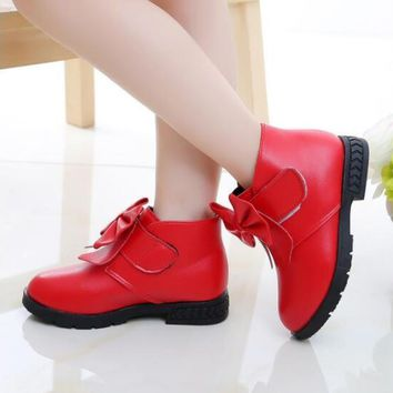 New Spring Autumn Kids Baby Girls Sneakers Shoes Fashion Toddler Girls Boots Bow PU Leather Boots Kids Boots Flat