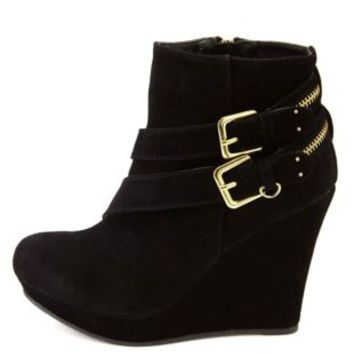 Black Zipper-Belted Platform Wedge Booties by Charlotte Russe