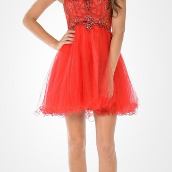 Sleeveless Tulle Skirt Embellished Bodice Damas Dress Short Red