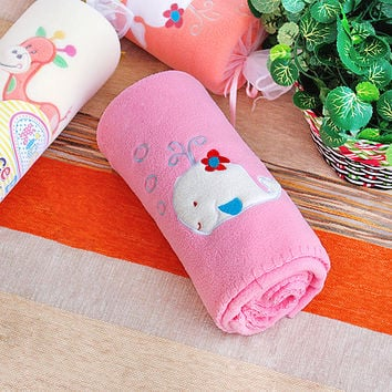 [White Whale - Pink] Embroidered Applique Coral Fleece Baby Throw Blanket (29.5 by 39.4 inches)