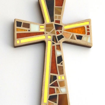 "Mosaic Wall Cross, Shades of Brown + Gold Mirror, Handmade Stained Glass Mosaic Cross Wall Decor, 12"" x 8"""