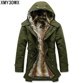 S-3XL 2017 stylish men add wool warm winter long cotton-padded clothes/Male slim fit long Within Mao Dan hooded jacket/
