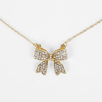 Women's Glitz Bow Necklace in Gold by Daytrip.