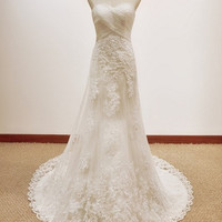 Custom White Halter Lace Tulle Wedding dress S218