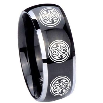 8MM Glossy Black Dome Multiple Doctor Who 2 Tone Tungsten Laser Engraved Ring