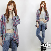 Vintage 90s GITANO Denim Plaid Shirt 90s Grunge Shirt Blue Plaid Shirt Oversized Plaid Shirt Oversized Denim Shirt 90s Grunge Shirt