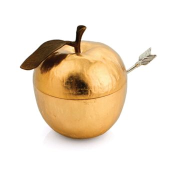 Golden Apple Honey Pot with Spoon by Michael Aram, Serving Pieces Size: Bowl: 3.5 L x 4 W x 3.75 H; Spoon: 4.5 L