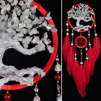 Red Dream Catcher Tree of life small Dreamcatcher wedding Dream сatcher white cat's eye gemstone dreamcatchers handmade gift white cat's eye