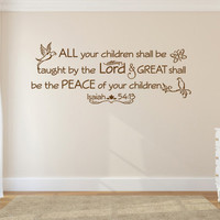 Religious Wall Decal. All Your Children - CODE 154