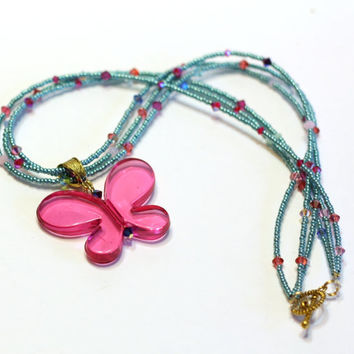 Pink Butterfly Pendant Necklace with Turquoise seed beads and Swarovski Crystals in a 3 layer pattern with a toggle clasp - statement
