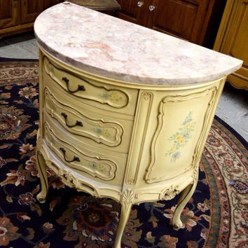 Dresser Side Table, Antique Floral  Vintage Antique Floral Design, Beautiful Marble Top