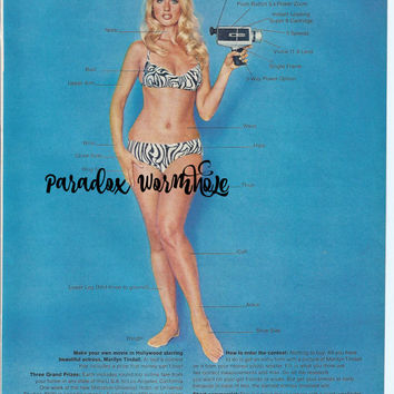 Vintage 1969 60's Vivitar Movie Camera Contest Print Ad Sexy Pin up Girl Wall Art Decor Man Cave
