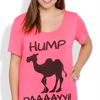 Plus Size Neon Hump Day Graphic Tee with Camel Screen