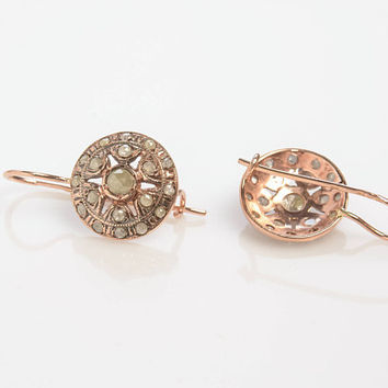 Round Drop Diamond Earrings Rose Cut Diamonds Vintage Style in 14K Rose Gold Wire back with hook and lever