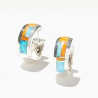 Sterling Inlay Stone Huggie Hoops