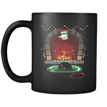Fireplace Christmas Black 11oz mug