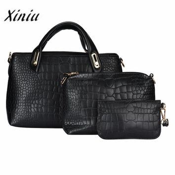 Xiniu Famous Brand Women bag 3pcs/Set Top-Handle Shoulder Bag 2017 Fashion Women Messenger Bags Ladies Leather Tote With Purse