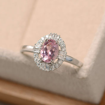 Pink tourmaline ring, pink gemstone ring, October birthstone ring, wedding ring, promise ring