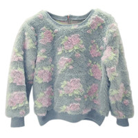 ROMWE | ROMWE Zippered Fluffy Rose Grey Sweatshirt, The Latest Street Fashion