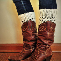 White Knit Boot Cuff -  knit boot topper faux legwarmers sock tops with metal buttons- leg warmers boot warmers