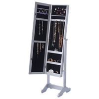 Mirrored Jewelry Cabinet Armoire Mirror Organizer Storage Box Ring w/ Stand