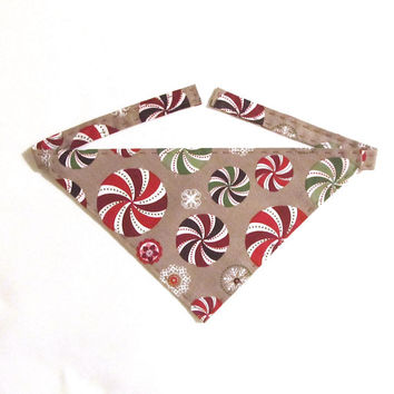 Christmas Dog Bandana - Brown with Peppermint Candies and Snowflakes - Handmade - Hand Stitched