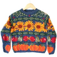 Sunflower Fall Harvest Tacky Thanksgiving Ugly Sweater - The Ugly Sweater Shop