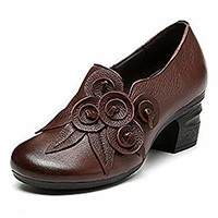Socofy Leather Mid Heel Shoes,Women Retro Handmade Floral Fashion Stitching Zipper Round Head Cute Shoes