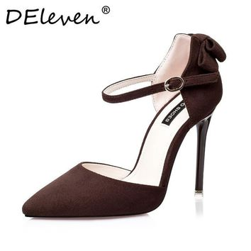2016 New Vogue Mary Janes Suede Bowknot Pointed Toe High Heel Pumps Buckle Strap Women