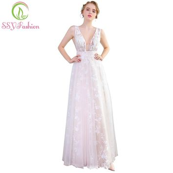 New Sexy Tulle Perspective Ivory Lace Evening Dress V-neck Backless Floor-length Banquet Prom Formal Gown