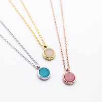 Mini round stone necklace
