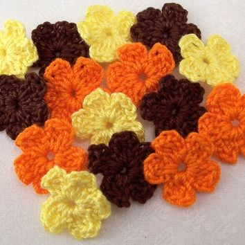 Crocheted Fall Color Flowers