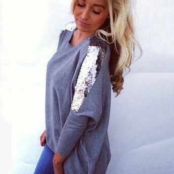 Round Neck Long-sleeved Sequined T-Shirt