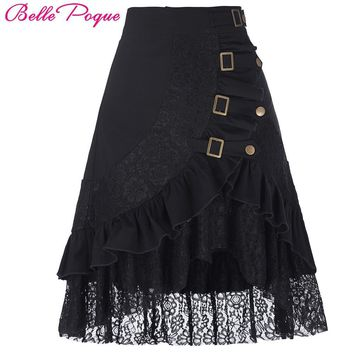 Steampunk Skirt Womens Sexy Black Ruffles With Lace Skirts Victorian Gothic Clothing Gypsy Hippie Vintage High Low Skirt 2017