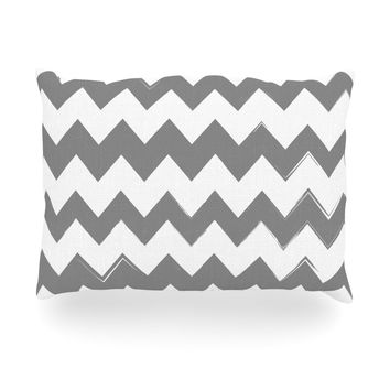 "KESS Original ""Candy Cane Gray"" Chevron Oblong Pillow"