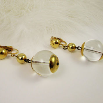 Vintage Lucite Earrings Clear Lucite Dangle Earrings Vintage Jewelry Fashion Jewellery Mod Retro