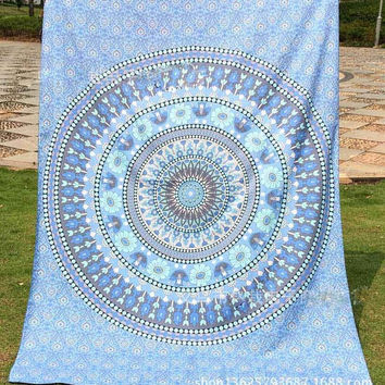 India Mandala Light Blue Beach Throw, Bed Manta, Yoga Mat,Tapestry 210*150cm